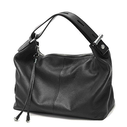 Artone Damen Echtes Leder Tragetasche Schultertaschen Handtasche Schwarz Schwarz