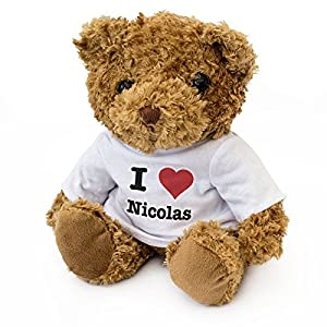 London Teddy Bears Oso de Peluche con Texto en inglés I Love Nicolas, Suave y Bonito, Regalo de cumpleaños o Navidad