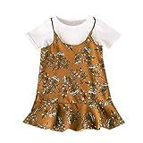 Ropa Bebe Niña Vestidos niña,Vestidos Niña Ropa para niños Vestido de Estampado Floral de Manga cort para niñas pequeñas Vestido de Fiesta Tops Conjunto de Vestido Informal