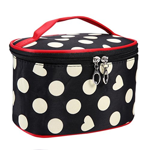 Fulltime® Imperméable Femmes Retro Pro Maquillage Dot Beauty Case Grand Cosmetic Toiletry Bag