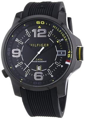 Tommy Hilfiger Brandon - Reloj de cuarzo para hombre, con correa de silicona, color negro