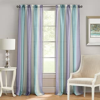 Achim Home Furnishings Rod Pocket Window Curtain Panel, Lilac/Turquoise, 50