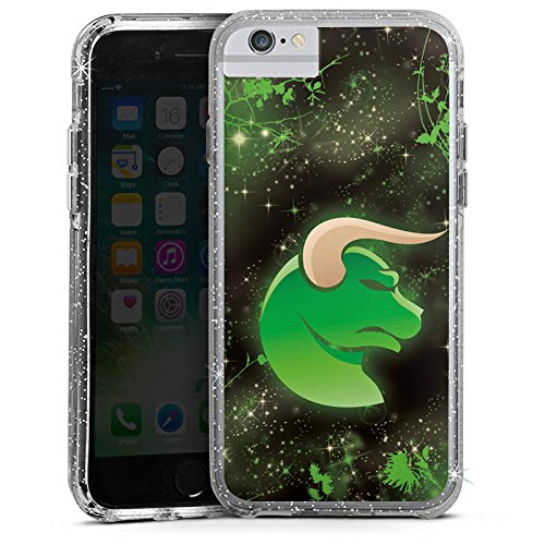 Apple iPhone 6 Bumper Hülle Bumper Case Glitzer Hülle Sternzeichen Astrologie Stier Bumper Case Glitzer silber
