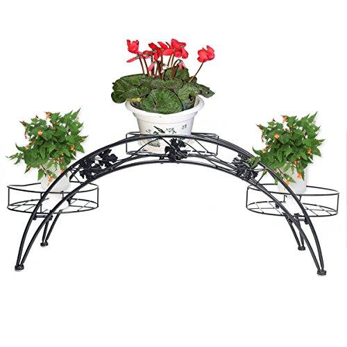 Étagère de Pots de Fleurs Plantes Etagère Arche en Métal Fer Forge pour Décoration Maison Jardin Noir-Dazone®
