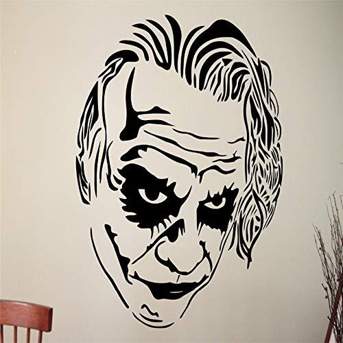 bsche Joker Gesicht Wandaufkleber Berühmte Comicfigur Kopf Kreative Vinyl Wandtattoos Wohnkultur 56 * 89 cm ()