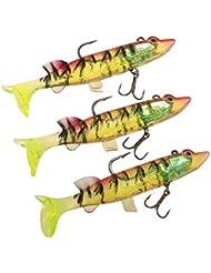 Lixada Cebos Blandos Kit 3pcs 12cm / 24g Noctilucentes Luminescente Suave Cebos de Pesca Conjunto con Cabeza de Plomo Anzuelo Triple