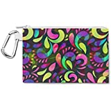 Neon Watercolor Swirls Canvas Zip Pouch - Large Canvas Pouch 10x7 Inch - Multi Purpose Pencil Case Bag In 6 Sizes