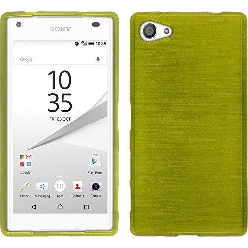 PhoneNatic Case kompatibel mit Sony Xperia Z5 Compact - pastellgrün Silikon Hülle Brushed + 2 Schutzfolien