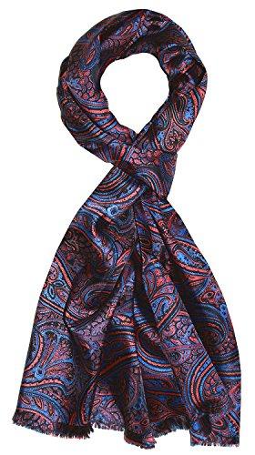 LORENZO CANA Luxus Herren Schal 100{882ca2680b54847f6ce4eb91f904dc3fa88bb29885a7d9a430b158f48be96b76} Seide in harmonischen Farben bedruckt doppellagig Seidenschal Seidentuch Tuch Dandy Style 30 x 160 cm 8913711