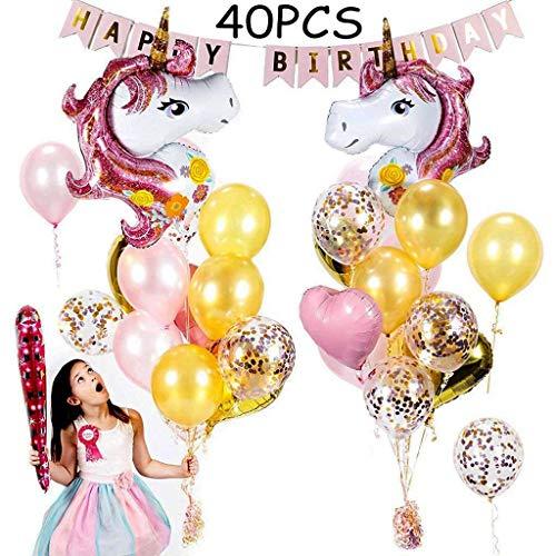 Tumao 40 pcs Rosa Unicornio Decoracion Fiesta Cumpleaños, Globos Unicornio Niña globos de Confeti rosa, Globo de Latex Dorado y Globo Corazon de Papel de Aluminio para fiestas de cumpleaños de niñas