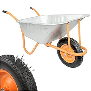 New DJM Heavy Duty Galvanised Steel Garden Wheelbarrow 90ltr 180kg - Puncture Proof Tyre