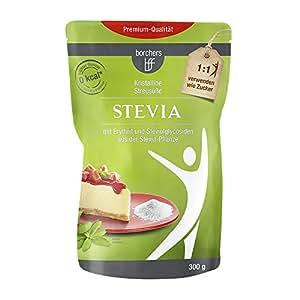borchers Stevia Kristalline Streusüße | Mit Erythrit | Rebaudiosid A | Kalorienfrei 300g