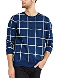 #3: Maniac Men's Fullsleeve Checked Navy Cotton T-Shirt