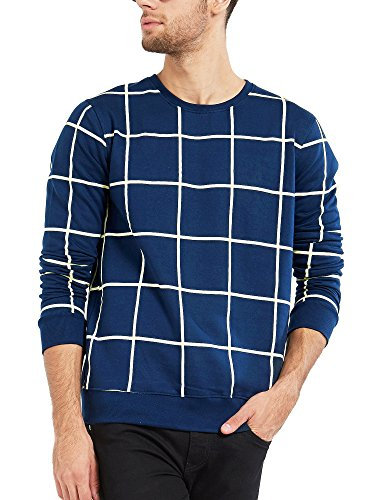Maniac Men's Fullsleeve Checked Navy Cotton T-Shirt (Navy Blue, Medium)