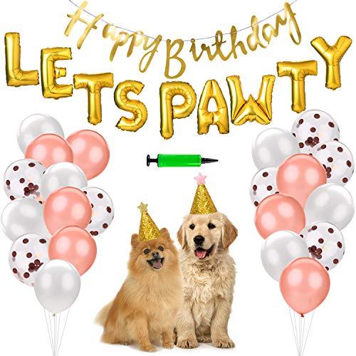 Forniture per Feste di Compleanno Bandana per Cani con Lets PAWTY Palloncini e Banner Buon Compleanno-per Decorazioni per Cuccioli di Compleanno per Animali Domestici (Oro Rosa)