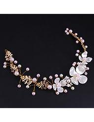 &zhou Tocado nupcial de la joyería del pelo por los accesorios 32 * 4cm del vestido de boda de la mano