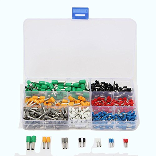 ExcLent 600Pcs Isolierte Cord End Terminal Boots Lace Cooper Ferrules Kit Set Wire Kupfer-Crimp Connector