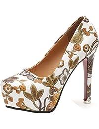 Ansenesna Dame Rose Plate-forme d'impression Talon OS Party Club Escarpins Chaussures