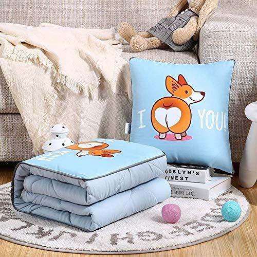 Yuhualiyi123 Gewaschener Baumwolle Cartoon Kissen Quilt Dual-Use-Office-Nap-Kissen-Auto-Kissen ist EIN Geschenk Kissen Einfache Kissen (Color : Short Leg, Size : 40 * 40cm) -