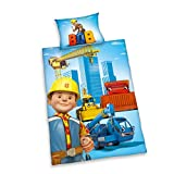Herding 2662201063 Bob der Baumeister Bettwäsche, Baumwolle, Blau, 100 x 135 cm