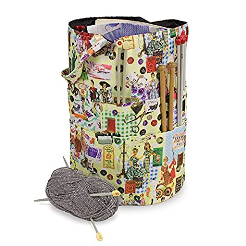 Knitting And Sewing Craft Needle And Wool Organiser Bucket Bag In Retro