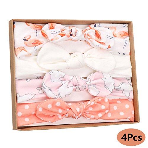 Vellette 4 Stücke Baby Mädchen Neugeborene Super Weich Baumwolle Elastische Stretch Turban Kleinkind Stirnb?nder Babys Madchen Knoten Stirnband Geschenksets