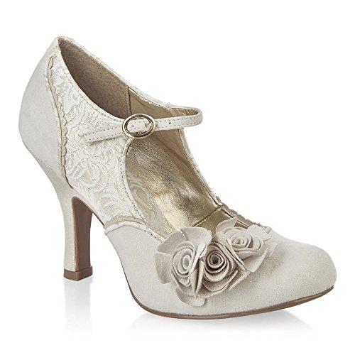 Ruby Shoo Emily Crema Oro Fiore Mary Jane tacco alto scarpe Off-White