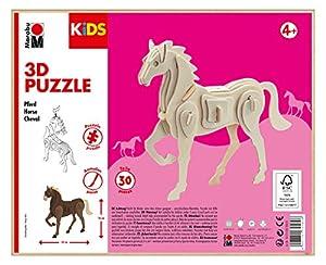 Marabu 0317000000023 Kids - Puzzle de Madera en 3D (30 Piezas), diseño de Caballo, Aprox. 18 x 16 cm, Color marrón