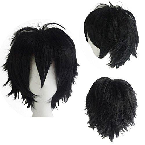 Parrucca corta nera parrucche cosplay capelli sintetici uomo/donna vari colori per carnevale party festa