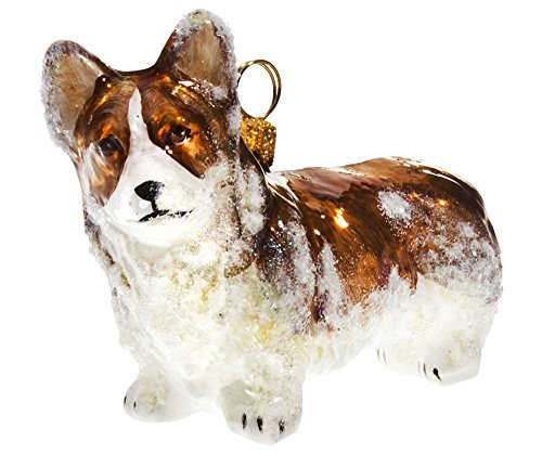Joy Snowy Pembroke Welsh Corgi Polish Glass Christmas Ornament Dog Pet Decoration -