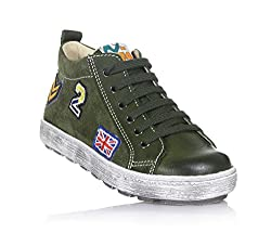 Naturino Hunter Green Low Sneaker Made Of Suede & Leather, Lateral Zipper, Lateral Coloured, Child, Boy, Boys-2 Uk