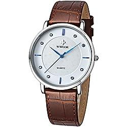 Herren Luxus Marke Fashion Business Quarzuhr Herren Armbanduhr Ultradünn ECHT LEDER BRAUN