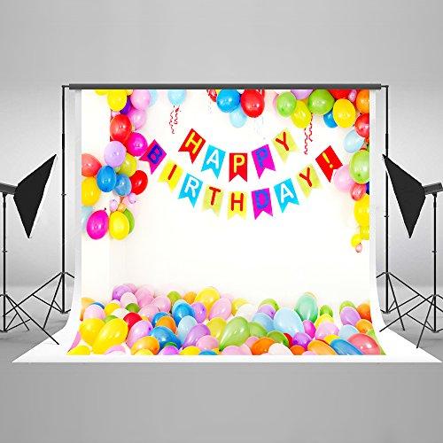 (KateHome PHOTOSTUDIOS 2,2x1,5m Birthday bunt Ballon Hintergrund für Kinder Geburtstag Fotografie Foto Hintergründen)