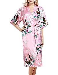 bb33023ed0 Sidiou Group Satin Robe Damen Nachtkleid Lang Satin Morgenmantel Lang Robe  Kimono Nachtwäsche Bademantel Nachthemden