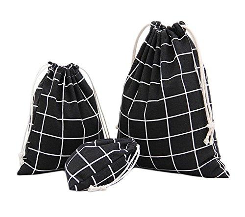 Namgiy 3x Kordelzug Staubbeutel Baumwolle Travel Schuh Taschen Tasche Essential Stuff Staubdicht Storage Pocket Organizer für Kleidung Home