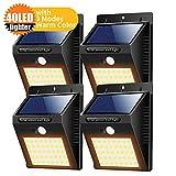 Solarleuchte für Außen 40 LED Solarlampe Superhelle Solarleuchte Garten mit Bewegungsmelder 3 Modi [1800mAh] Wasserdichte Solarleuchten für Garten,Patio, Gehweg, Auffahrt, Treppen [4 Stück] (Warmweiß)
