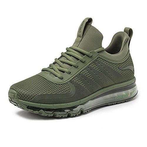 onemix Air Laufschuhe Turnschuhe Herren Fitness Schuhe mit Luftpolster Sportschuhe Sneaker Armeegrün 43 EU (2-wege-stretch-socke)