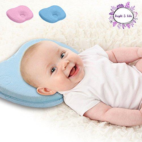 Orthopädisches Babykissen mit zwei abnehmbaren Bezügen verhindert Plagiozephalie und flachen Kopf (Schädelform) | Babykissen von Purple & Lila - Perfekter Kopf Memory foam Baby Pillow Rosa