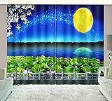 HONGYZCL Digitaler Vorhang des Gelben Druckens des Mondes 3D Passend Für Hauptschlafzimmerwohnzimmer,220Cm(W)×241Cm(H)