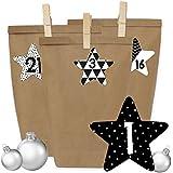 24 Adventskalender Tüten mit 24 Aufkleber Zahlen und Klammern - zum selber Basteln - DIY Set Adventskalender zum Befüllen für Erwachsene - Design Nr 40