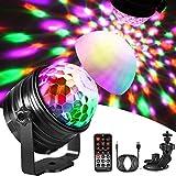 Luci Discoteca LED, Emooqi Luci Discoteca Lampada da Palco USB alimentato Con 6 Modalità Colore + 360°Ventosa Girevole Staffa + 45 dB Suono Sensibile Attivato per Matrimoni, Compleanni,Natale