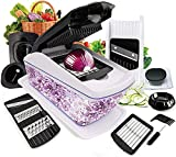 Fun Life Food Cutter, 8 in 1 Vegetable And Onion Choppers, Mandolin Slicer And Food Dicer, Multifunctional Cutter, Includes Mandoline, Julienne, Spiral And Ribbon Slicer