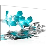 Bild Blumen Orchidee Wandbild Vlies - Leinwand Bilder XXL Format Wandbilder Wohnzimmer Wohnung Deko Kunstdrucke Türkis 1 Teilig - MADE IN GERMANY - Fertig zum Aufhängen 200014b
