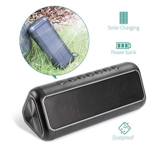 Power Lautsprecher (Solar Bluetooth-Lautsprecher mit 5000mAh Power Bank, XIYIHOO Tragbarer, kabelloser Bluetooth 4.2-Lautsprecher mit mehr als 50 Stunden Spielzeit für Outdoor- und Indoor-Aktivitäten ...)