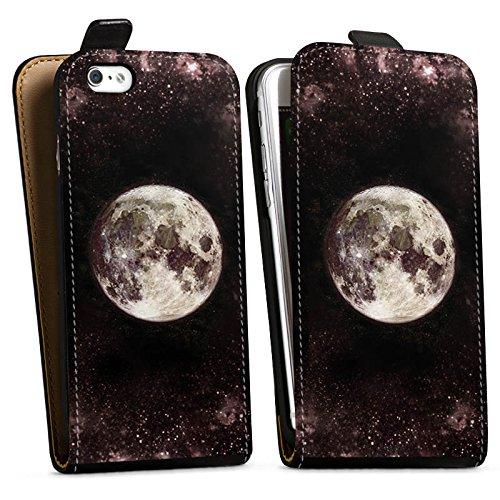 Apple iPhone 6s Silikon Hülle Case Schutzhülle Mond Moon Universum Downflip Tasche schwarz