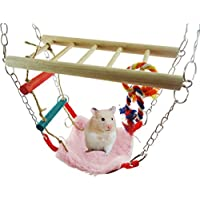 LA VIE Juguete para Hámsters Columpio Puente Levadizo Escalera de Madera para Escalar y Masticar Hamaca para Hámsters Accesorios para Hámsters Ardilla Chinchilla Huron Small Pet Toy Hammock Swing 23x9.5CM