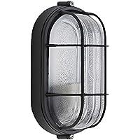 Biard Lámpara de Pared para Exteriores (E27, Color Negro) - Aplique Mural Ovalado - Impermeable IP54 - Carcasa de Aluminio - Vidrio Difusor Opal - Iluminación para Jardín