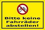 Melis Folienwerkstatt Schild - Fahrräder abstellen - 30x20cm | Bohrlöcher | 3mm Aluverbund – S00050-044-C -20 Varianten