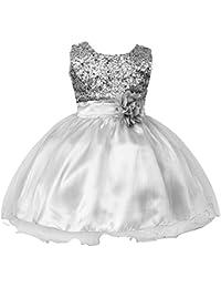 2b100f5219e09 IWEMEK Petite Fille Fleur Robe de Princesse Paillettes Demoiselle d honneur Enfants  Robe de Anniversaire