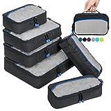ZOMAKE Packing Cubes Packwürfel Set,Kleidertaschen Packtaschen 6-teiliges,ltra-leichte koffer organizer set Ideal für Seesäcke, Handgepäck und Rucksäcke (Schwarz)
